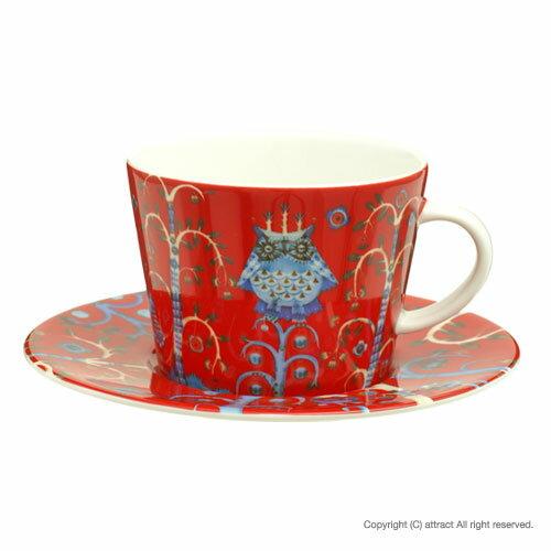イッタラ iittala タイカ Taika レッド コーヒーカップ&ソーサー 柄:クラウス・ハーパニエミ 器:ヘイッキ・オルヴォラ 食器 北欧 フィンランド テーブルウェア