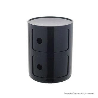 카르텔 Kartell 정규 취급점 Componibili2 콘포니비리 2 COP-4966 멀티 체스트 2단 칼라:블랙 디자이너:안나・카스텔리・페리에이리데자이나즈인테리아모단
