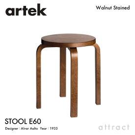 アルテック Artek STOOL E60 スツール E60 4本脚 バーチ材 スタッキング可能 デザイン:Alvar Aalto 座面&脚部 ウォルナット ステイン仕上げ フィンランド 北欧 【RCP】 【smtb-KD】