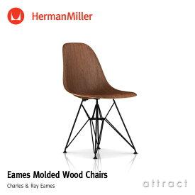 ハーマンミラー Herman Miller イームズ ウッドシェルチェア Eames Molded Wood Chair ウォールナット ワイヤーベース(ブラック) デザイン:Charles & Ray Eames DWSR. BK OU サイドチェア プライウッド 椅子 チェア 【RCP】【smtb-KD】