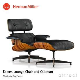 ハーマンミラー Herman Miller イームズ ラウンジチェア & オトットマン Eames Lounge Chair & Ottoman サントスパリサンダー 黒皮革 ブラックレザー デザイン:Charles & Ray Eames ES67071-9N2109 プライウッド 椅子 【RCP】【smtb-KD】