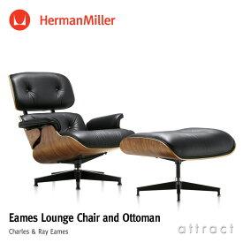 ハーマンミラー Herman Miller イームズ ラウンジチェア & オトットマン Eames Lounge Chair & Ottoman ウォールナット 黒皮革 ブラックレザー デザイン:Charles & Ray Eames ES67071-OU2109 プライウッド 椅子 チェア 【RCP】【smtb-KD】