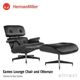 ハーマンミラー Herman Miller イームズ ラウンジチェア & オトットマン Eames Lounge Chair & Ottoman ブラックモデル エボニー 黒皮革 MCLレザー デザイン:Charles & Ray Eames ES67071EN プライウッド 椅子 【RCP】【smtb-KD】
