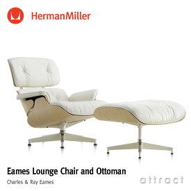 ハーマンミラー Herman Miller イームズ ラウンジチェア & オトットマン Eames Lounge Chair & Ottoman ホワイトモデル ホワイトアッシュ 白皮革 MCLレザーデザイン:Charles & Ray Eames ES67071RE プライウッド 椅子 【RCP】【smtb-KD】