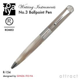 伊東屋 ITO-YA 銀座 伊東屋 イトーヤ ROMEO ロメオ R-154 No.3 Ballpoint Pen ボールペン φ13mm 太軸 カラー:イタリアンベージュ 回転繰り出し式 イタリアンレジン 真鍮 文房具 文具 筆記用具