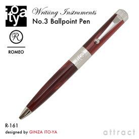 伊東屋 ITO-YA 銀座 伊東屋 イトーヤ ROMEO ロメオ R-161 No.3 Ballpoint Pen ボールペン φ13mm 太軸 カラー:イタリアンレッド 回転繰り出し式 イタリアンレジン 真鍮 文房具 文具 筆記用具