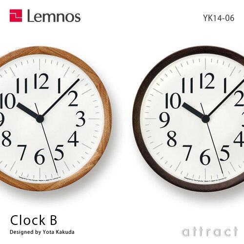 レムノス Lemnos タカタ Clock B クロック ビー YK14-06 カラー:2色 サイズ:Φ220mm タモ スイープセコンド デザイン:角田 陽太 文字盤 タイポグラフィ 時計 壁掛け時計 ウォールクロック 贈り物 ギフト 【HLS_DU】【RCP】【smtb-KD】