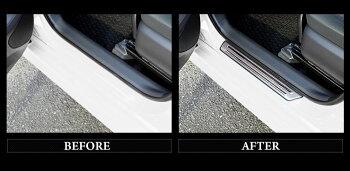 ヤリスクロス専用スカッフプレート外側4PCSYARISCROSS高品質ステンレス採用メッキガーニッシュドレスアップパーツスカッフプレート外側ゴムカバー