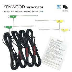 ケンウッド【 MDV-727DT 】地デジ フィルムアンテナ & ケーブル 4本 セット 4CH 2011年モデル 高性能 L型 純正 HF201S カプラー 両面テープ付 コードクランパー付 アンテナコード フルセグ ワンセグ 接続 ナビ KENWOOD
