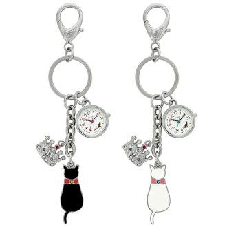 有J-AXIS钥匙圈钟表怀表吊钩的钟表键链子表黑猫白猫白猫王冠AP1331