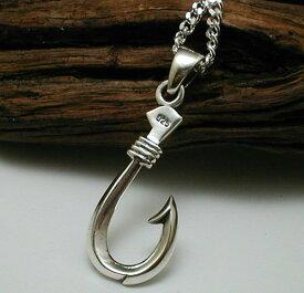 フィッシュフック ネックレス シルバーネックレス メンズネックレス シンプル 釣り針 ネックレス シルバー925 2.8mm喜平ネックレス付き 男 女 兼用 シルバーペンダント