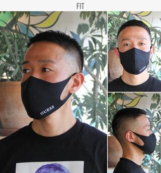 【2枚セット】【在庫有り】【即納】GUESSゲスマスク洗えるマスクメンズレディース大人男性用女性用無地ブランドブラック黒GUESSLOGOMASK【evi】