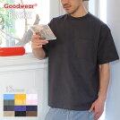GOODWEARTシャツメンズUSAコットンビッグ無地ポケットT2W7-35052018春ブラック/チャコール/カーキ/ミント/ネイビー/ピンク/ブルー/ホワイト/イエローM/L/XL
