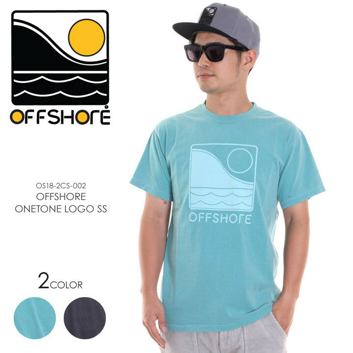 OFFSHORE オフショア Tシャツ メンズ OFFSHORE ONETONE LOGO S/S OS18-2CS-002 2018夏 グレー/グリーン S/M/L 【Sold Out】