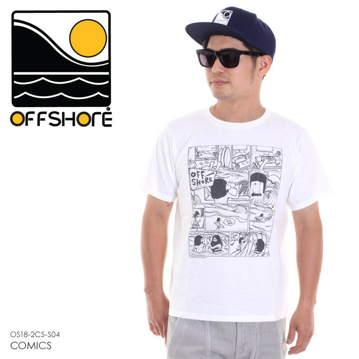 OFFSHORE オフショア Tシャツ メンズ COMICS OS18-2CS-S04 2018夏 ホワイト S/M/L