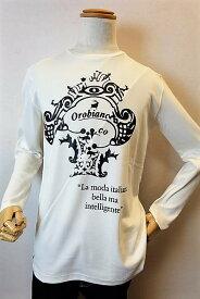 【セール35%OFF】 オロビアンコ OROBIANCO 【ロングTシャツ】【2018秋冬新作】【イタリア】【メンズウェア】【オロビアンコ バッグ】【オロビアンコ服】 ロゴプリントロングTシャツ ホワイト