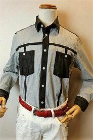 【セール35%OFF】 ショーン・バイ・ミラショーン 【カジュアルシャツ】【2020春夏新作】【メンズウェア】【ミラショーン服】 デニム切り替えシャツ ブラック milaschon