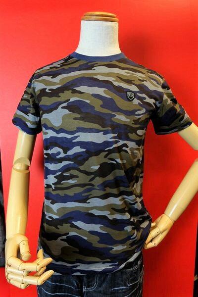 【バラシモーダ】【barassimoda】【半袖Tシャツ】【春夏アウトレットセール50%OFF】【メンズ】【ブランド】【Tシャツ】【メンズファッション】【バラシ服】 迷彩柄半袖Tシャツ ブルー