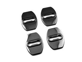 プリウス カローラ ヴォクシー用 ドアロックカバー ドアストライカー メタルカバー ステンレス 黒色 4P