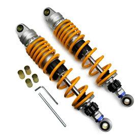 汎用品 バイク用 リアサスペンション リアショック 340mm リアガスショック 減衰調整付き シルバーボディ イエロースプリング 黄