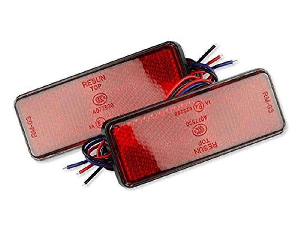 ネコポス無料 12V バイク汎用 24連LEDリフレクター 反射板 ブレーキ連動 長型 赤(レッド) 2個1セット