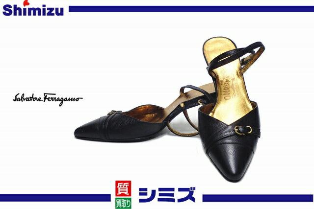 【Ferragamo】 フェラガモ アンクルストラップ ハイヒール サンダル 靴 6 C ブラック ◆未使用◆ 【中古】
