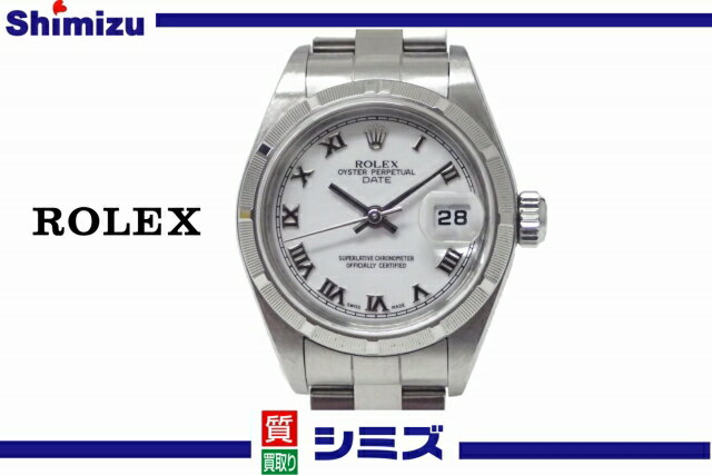【ROLEX】 ロレックス レディース腕時計 SS オイスターパーペチュアルデイト ホワイトローマン [Ref.79190] K番 ◆美品 【中古】