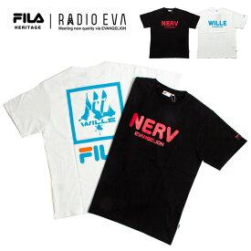エヴァンゲリオン Tシャツ FILA HERITAGE x RADIO EVA フィラ エヴァンゲリオン 限定コラボ プリント 半袖Tシャツ / T-SHIRTS HERITAGE メンズ レディース