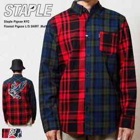 【STAPLE PIGEON NYC / ステイプル】 ステイプル ピジョン クレイジーパターン 長袖チェック ネルシャツ(赤) / STAPLE FLANNEL PIGEON SHIRT(RED)