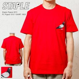 【STAPLE PIGEON NYC / ステイプル】 ピジョン 刺繍ポケット Tシャツ / FC STAPLE PIGEON POCKET TEE (RED -レッド 赤)