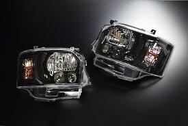 CRS 【4型フェイスチェンジ用】 4型LEDルックハロゲンヘッドライト■グロスブラックシーアールエスESSEX エセックス200系1型2型3型用ハイエースレジアスエース
