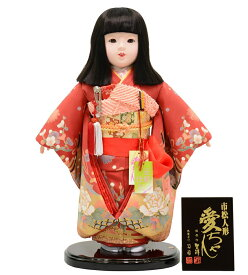 市松人形 愛ちゃん 10号 極上 正絹仕立 金彩京友禅 おかっぱ髪 [高さ約45cm]