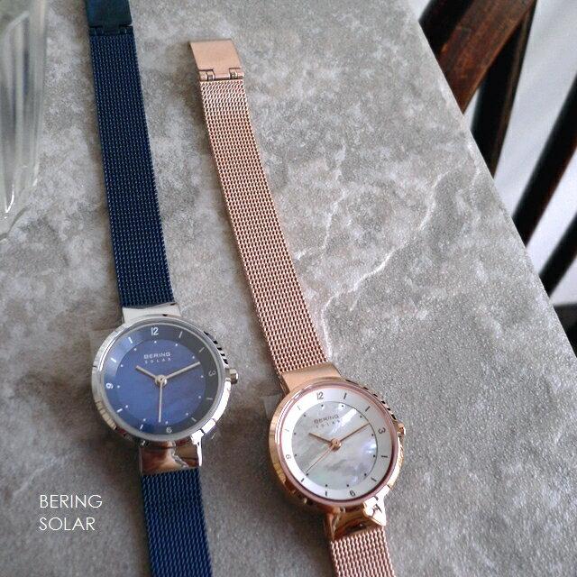 ノベルティプレゼント BERING ベーリング メタルバンド ソーラー 腕時計 Scandinavian Solar 14424-366 307 ピンクゴールド/ブルー