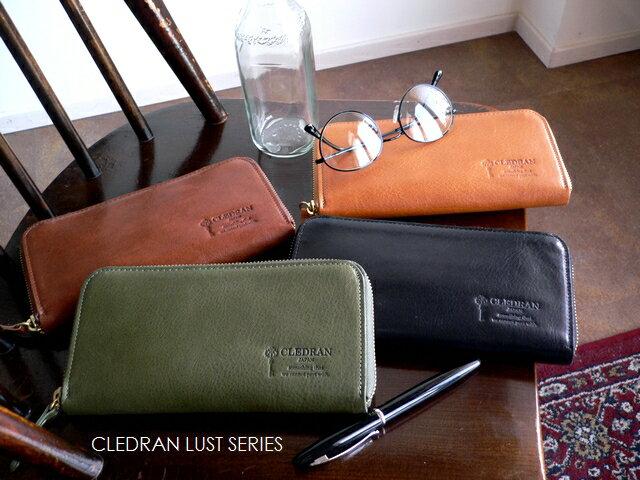 当店ノベルティプレゼント/クーポン対象外 クレドラン CLEDRAN メンズ 財布 ラウンドファスナー 長財布 S6514 LUST キャメル/ブラウン/グリーン/ブラック/父の日