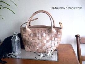 レザークリームプレゼント ロビタ robita バッグ spray & stone wash スクエア 2wayトートバッグ かごバッグ STA-288S シルバー/