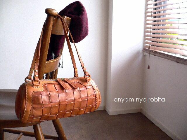 ノベルティ&レザークリームプレゼント robita ロビタ メッシュレザー ミニボストン ドラム AN-217