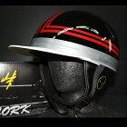 TNK TR-40C 峠 コルク半ヘルメット ブラック/レッド フリーサイズ 半帽 旧車 あす楽対応 送料無料(代引不可)