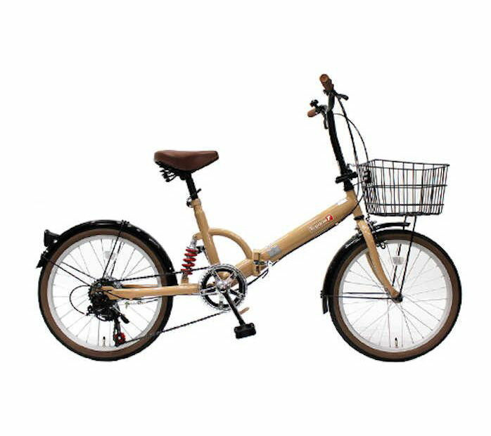 TOPONE (トップワン) 折りたたみ自転車 20インチ カゴ付き リアサス付き6段変速 (モカ) (FS206LL-37-MO) 【送料無料・メーカー直送・代引不可】 02P03Dec16