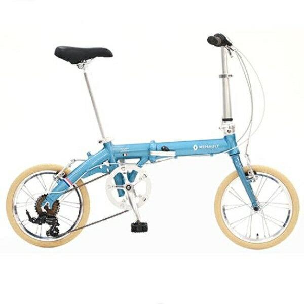 折り畳み自転車 RENAULT LIGHT9 Nouveau 16インチ AL折りたたみバイク ブルー ルノー(AL-FDB166)