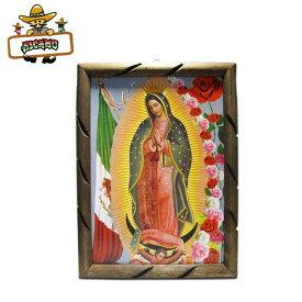 【グアダルーペ マリア ウッドフレームL:44cm(メキシコローズ)】マリア様 雑貨 メキシコ グッズ 額GUADALUPEMARIAのインテリア壁掛け飾り