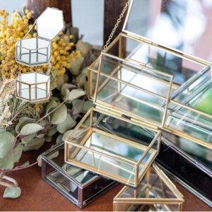 ガラスボックス おしゃれ ガラスケース アクセサリーケース コレクション ディスプレイケース 小物入れ 小物収納 インテリア フレームボックス ヘクスM