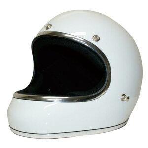 送料無料 レトロ フルフェイス ヘルメット【DAMMTRAX[ダムトラックス]】 アキラ ホワイト 白 メンズ Mサイズ(57cm〜58cm) バイク用 ヘルメット