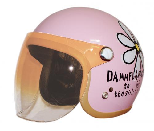 送料無料 【ダムトラックス】フラワージェット ピンク レディース ヘルメットシールド付き ジェットヘルメット 花柄 女性用ヘルメット バイク用ヘルメット【あす楽】