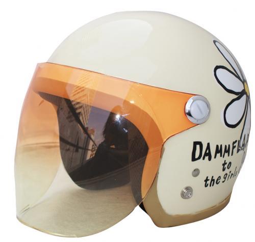 送料無料 レディース用【DAMMTRAX ダムトラックス】フラワージェット パールアイボリー レディース ヘルメット【クリーム アイボリー】シールド付き ジェットヘルメット 花柄 女性用ヘルメット バイク用ヘルメット【あす楽】