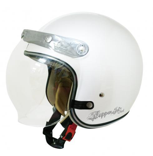 送料無料 レディース用【ダムトラックス】 フラッパージェットネクスト パールホワイト レディース シールド付きジェット ヘルメット
