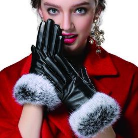【メール便送料無料】PUレザーラビットファー手袋 スマホ対応 検索用→ レディース ファー レザー 手袋 グローブ 手ぶくろ おしゃれ 合成皮 ファー手袋