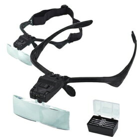 ヘッド型 メガネ型ルーペ 拡大鏡 検索用→ メガネ型拡大鏡 メガネ型 ルーペ 虫眼鏡 老眼鏡 ヘッドライトルーペ ヘッドルーペ LED付き LED