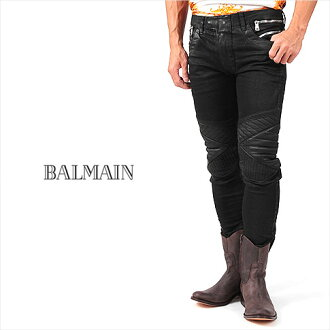BALMAIN HOMME balmanom black coated stretch by car denim 176 NOIR/BLACK JEANS BIKER HOMME W4HT556C723 P08Apr16