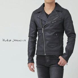 【在庫一点セール】【秋冬OUTLET】ヌーディージーンズ Nudie Jeans ライダースジャケット デニムジャケット SIXTEN ブラックコーテッド 42161-5018-B01