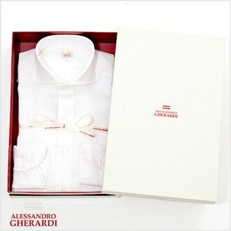 亚历山德罗 · 杰拉迪和亚历山德罗 · 杰拉迪和白色亚麻 (亚麻) 剖修身手工花花公子衬衫水平宽白色衬衫 5286-000 P08Apr16